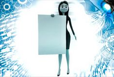 3d woman holding abstract empty paper and showing it illustration Stock Photos
