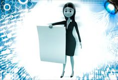 3d woman holding abstract empty paper and showing it illustration Stock Image