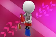 3d woman holding bags illustration Stock Photos