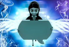 3d woman holding big blue chat bubble in hands illustration Royalty Free Stock Image
