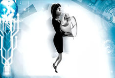 3d woman holding clock illustrations Stock Images