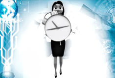 3d woman holding clock illustrations Stock Photography