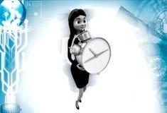 3d woman holding clock illustrations Stock Photos