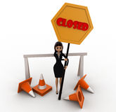 3d woman holding closed sign in hands concept Royalty Free Stock Photography