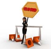 3d woman holding closed sign in hands concept Stock Image