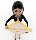 3d woman holding contact us sign board concept Stock Images