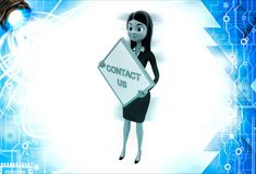 3d woman holding contact us sign board illustration Royalty Free Stock Photography