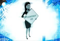 3d woman holding contact us sign board illustration Stock Photos