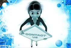 3d woman holding contact us sign board illustration Stock Photo