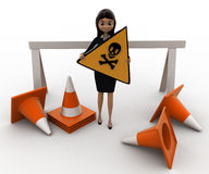 3d woman holding danger sign board and with traffic cone concept Royalty Free Stock Photos
