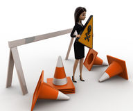 3d woman holding danger sign board and with traffic cone concept Stock Image