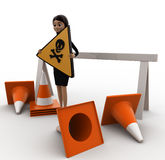 3d woman holding danger sign board and with traffic cone concept Royalty Free Stock Image