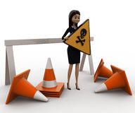 3d woman holding danger sign board and with traffic cone concept Stock Images