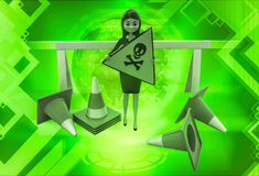 3d woman holding danger sign board and with traffic cone illustration Stock Photos
