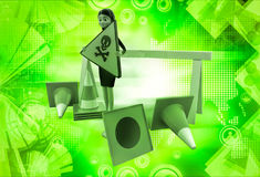 3d woman holding danger sign board and with traffic cone illustration Royalty Free Stock Photos