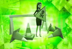 3d woman holding danger sign board and with traffic cone illustration Stock Images