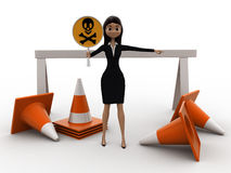3d woman holding danger symbol board and with traffic cones concept Royalty Free Stock Photos
