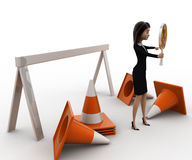 3d woman holding danger symbol board and with traffic cones concept Stock Images