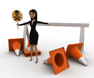 3d woman holding danger symbol board and with traffic cones concept Royalty Free Stock Image