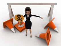 3d woman holding danger symbol board and with traffic cones concept Stock Photography