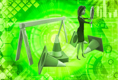 3d woman holding danger symbol board and with traffic cones illustration Royalty Free Stock Images