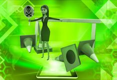 3d woman holding danger symbol board and with traffic cones illustration Stock Photography