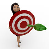 3d woman holding dart target in hands concept Stock Images