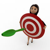 3d woman holding dart target in hands concept Royalty Free Stock Photo
