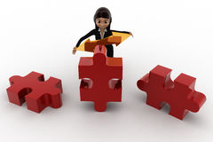 3d woman holding golden bidericational arrow and red puzzle pieces concept Stock Photo