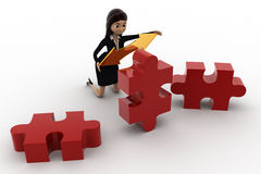 3d woman holding golden bidericational arrow and red puzzle pieces concept Royalty Free Stock Images