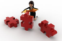 3d woman holding golden bidericational arrow and red puzzle pieces concept Stock Photography
