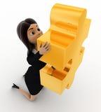 3d woman holding golden puzzle piece concept Stock Photography