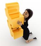 3d woman holding golden puzzle piece concept Stock Photo