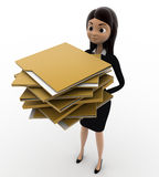 3d woman holding lots of file folders in hand concept Stock Images