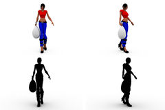 3d woman holding money bag Concept Collections With Alpha And Shadow Channel Royalty Free Stock Photos