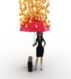 3d woman holding pink umbrella under rain of gold coin concept Stock Photos
