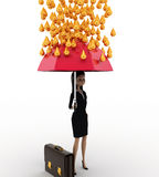 3d woman holding pink umbrella under rain of gold coin concept Royalty Free Stock Photo