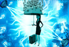 3d woman holding pink umbrella under rain of gold coin illustration Royalty Free Stock Photo