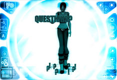 3d woman holding question mark in hand and question mark around her illustration Stock Image