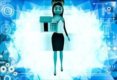 3d woman holding small house in hand illustration Royalty Free Stock Photography