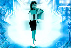 3d woman holding small house in hand illustration Royalty Free Stock Photos