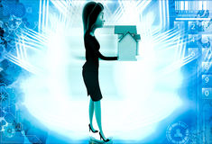 3d woman holding small house in hand illustration Stock Photography