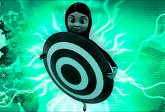 3d woman holding target board illustration Royalty Free Stock Photography
