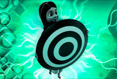 3d woman holding target board illustration Royalty Free Stock Photo