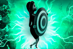 3d woman holding target board illustration Stock Photography