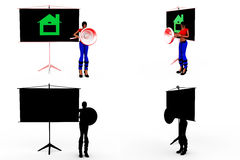 3d woman home on board concept Collections With Alpha And Shadow Channel Stock Photos