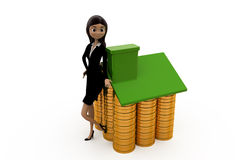 3d woman home of coin concept Stock Photography