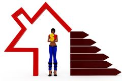 3d woman home money concept Royalty Free Stock Photo
