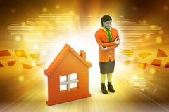 3d woman with home,  real estate concept Royalty Free Stock Photos