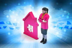 3d woman with home,  real estate concept Royalty Free Stock Photo